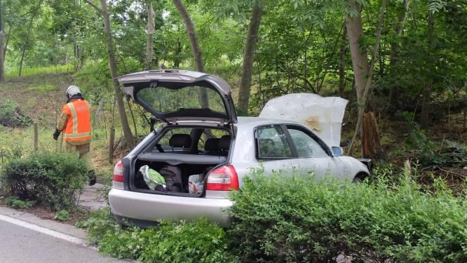 Twee gewonden na hevige crash tegen boom, voorbijgangers blussen motorbrand