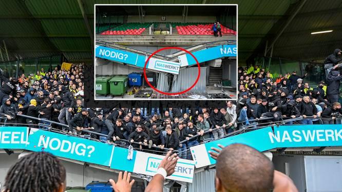 Bizarre beelden: container voorkomt erger als tribune bezwijkt onder feestende fans