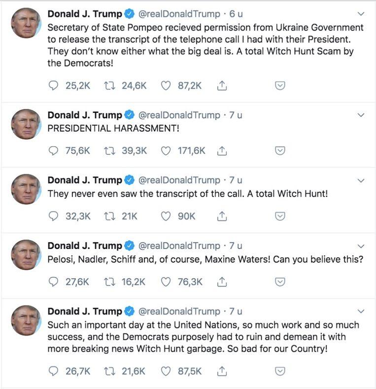 Donald Trump sloeg meteen aan het tweeten. Beeld Twitter