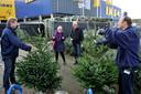 Kerstbomen kopen bij de Ikea.