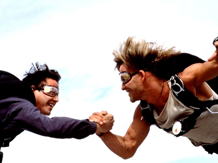 Keanu Reeves en Patrick Swayze in Point Break van Kathryn Bigelow. Beeld