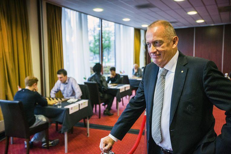 Rob Clerc, bondscoach van de Nederlandse dammers tijdens het WK Dammen. Beeld Jiri Buller