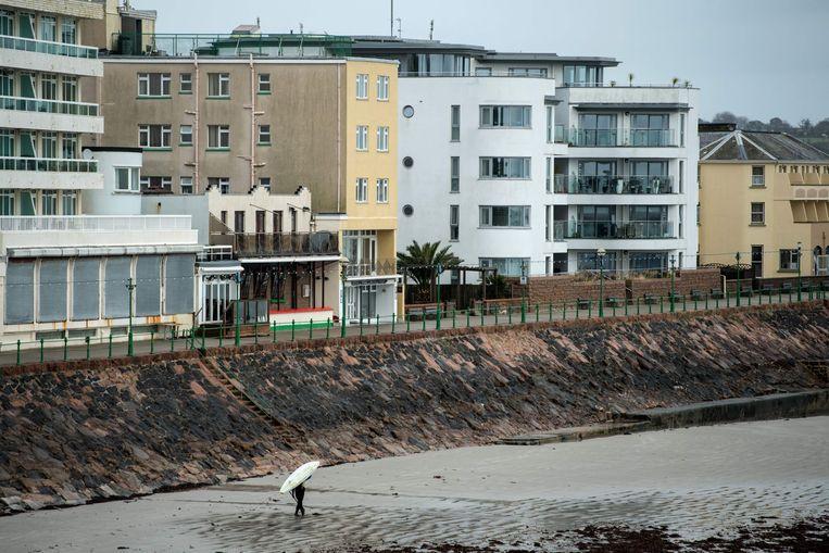 Beeld van St. Helier, op het Britse eiland Jersey. Beeld AFP