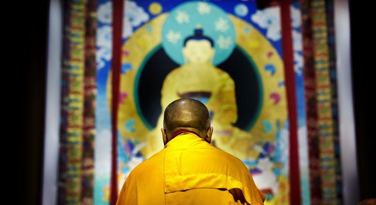 De dalai lama in Ahoy, afgelopen mei tijdens zijn bezoek aan Nederland. Beeld anp
