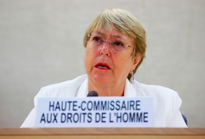 VN-mensenrechtencommissaris Michelle Bachelet tijdens een bijzondere zitting over Afghanistan.