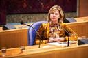 Minister Cora van Nieuwenhuizen van Infrastructuur en Waterstaat (VVD) tijdens een debat in de Tweede Kamer.