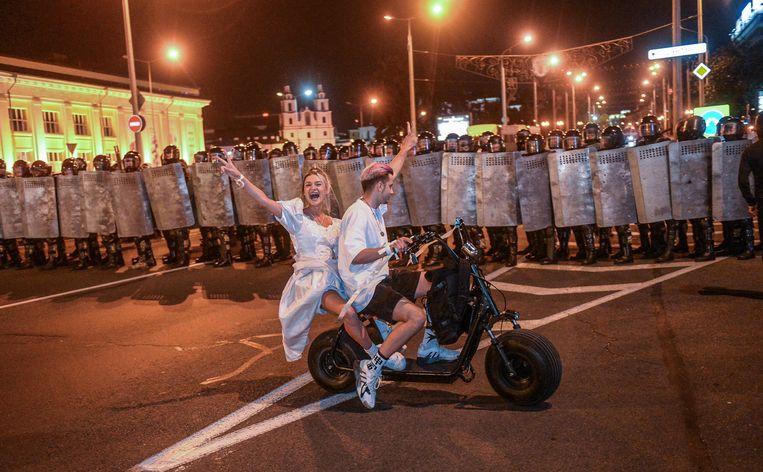 Minsk afgelopen nacht. Beeld EPA
