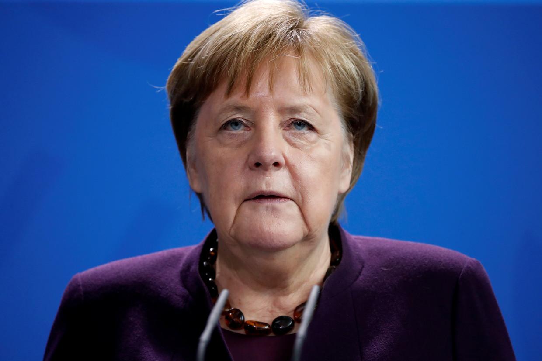 De Duitse bondskanselier reageerde vandaag in Berlijn op de schietpartijen.