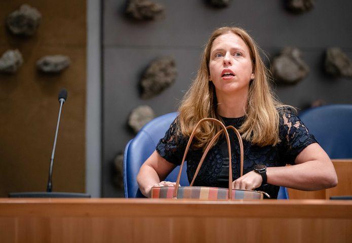 Demissionair minister Carola Schouten (Landbouw) tijdens het eerste vragenuur na het zomerreces in het tijdelijke parlementsgebouw.