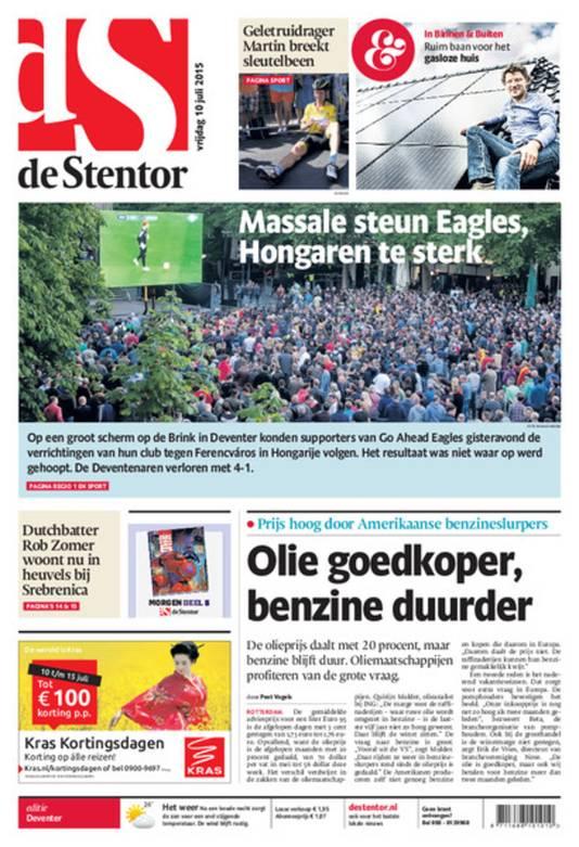 Voorpagina de Stentor 10 juli 2015