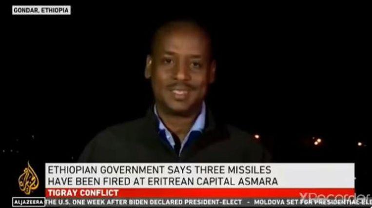 Twee raketten kwamen volgens nieuwszender Al-Jazeera terecht op de internationale luchthaven van Asmara. Beeld Videostill Al Jazeera