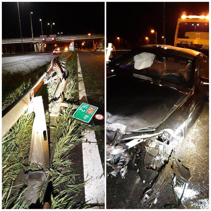 Zowel de auto als de vangrail raakte flink beschadigd bij het eenzijdige ongeval.
