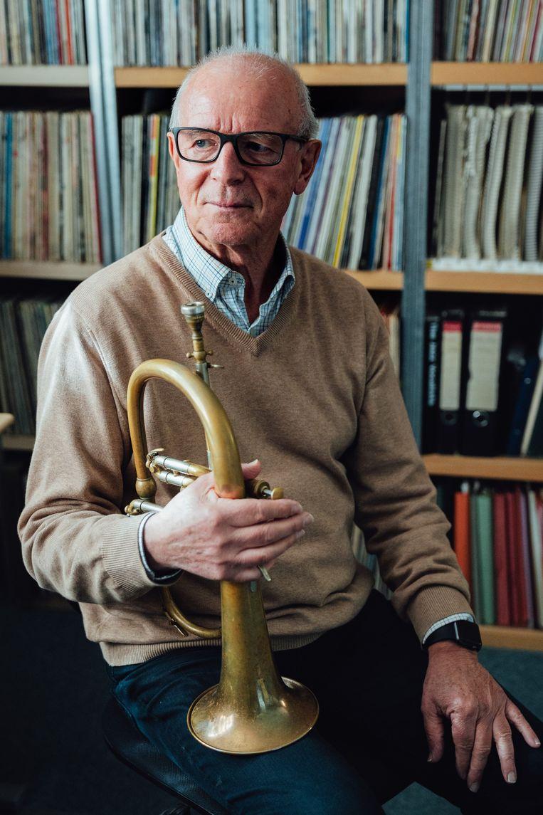 Richard Rousselet is een Belgisch hardbop- en swingtrompettist, bugelspeler en dirigent. Hij speelde samen met Marc Moulin in Placebo. Beeld Illias Teirlinck