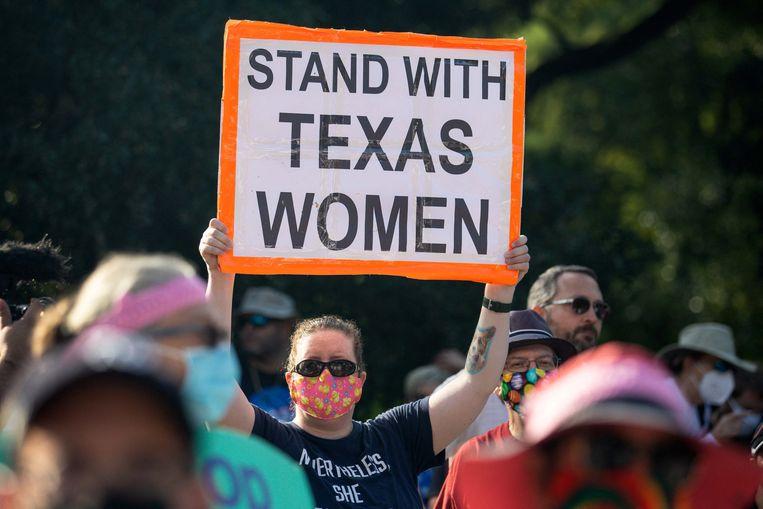 Demonstranten betogen voor het recht op abortus tijdens een grote manifestatie vorig weekend in Washington. Beeld AFP
