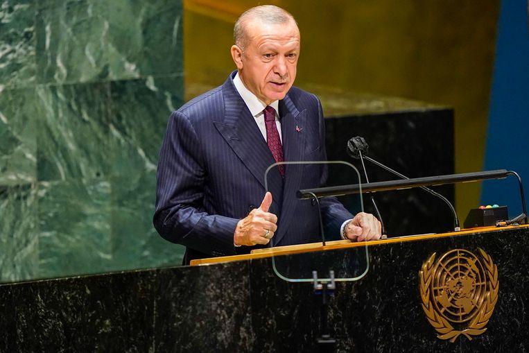 De Turkse president Recep Tayyip Erdogan tijdens een toespraak tot de Algemene Vergadering van de VN in New York. Beeld EPA