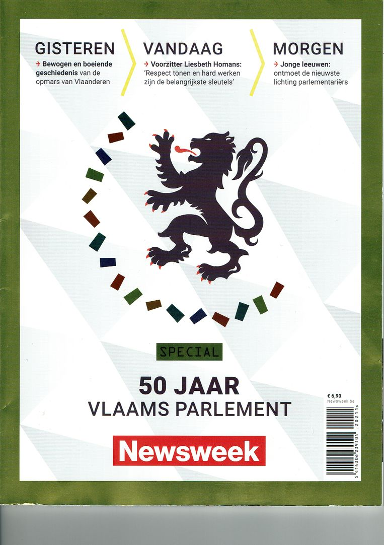 Het Amerikaanse magazine Newsweek besteedde een nummer aan 50 jaar Vlaams Parlement. Beeld rv