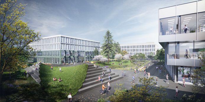 De nieuwbouwplannen van Fontys Hogeschool op de campus Rachelsmolen in Eindhoven: drie gebouwen aan een groen park met plein en tribune. Rechts het gebouw met gezamenlijke voorzieningen, zoals de horeca, links het pand voor onder andere praktijkonderwijs en middenachter de thuisbasis van diverse opleidingen. De gebouwen zijn ontworpen door Barcode Architects, het groen door OKRA Landschapsarchitecten.