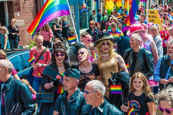 AFGEKOCHT - Gouda, Roze zaterdag, bonte stoet met de Pride Walk IN 2018.