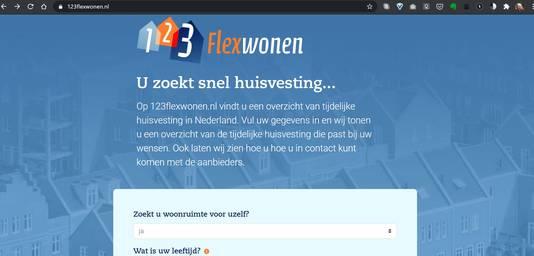 Nieuwe landelijke website 123flexwonen.nl voor het zoeken naar een flexwonen.