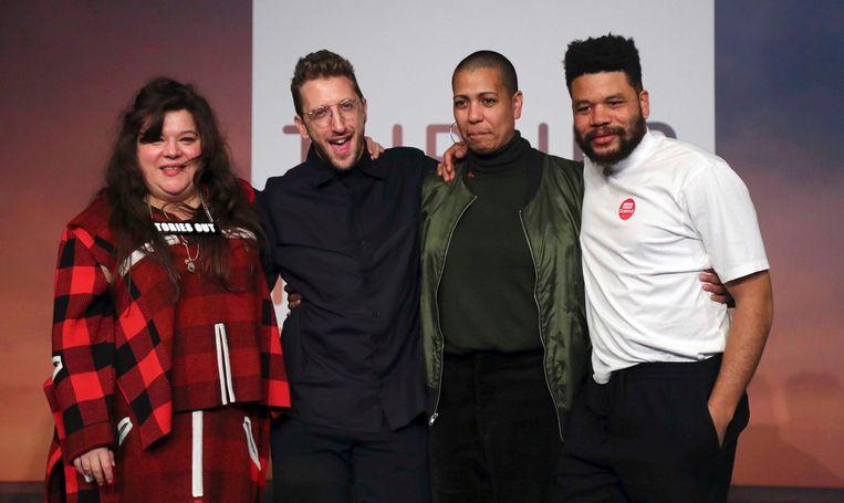 Van links naar rechts Tai Shani, Lawrence Abu Hamdan, Helen Cammock en Oscar Murillo, de gezamenlijke winnaars van de Turner Prize 2019. Beeld AP