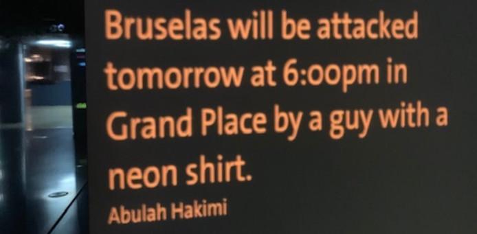 Le message inquiétant inscrit sur le mur virtuel du Parlement européen à Bruxelles.