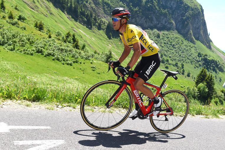Richie Porte tijdens de Dauphiné. Hij werd in de slotrit genekt door zijn vriend (nu ex-vriend?) Chris Froome. Beeld Photo News