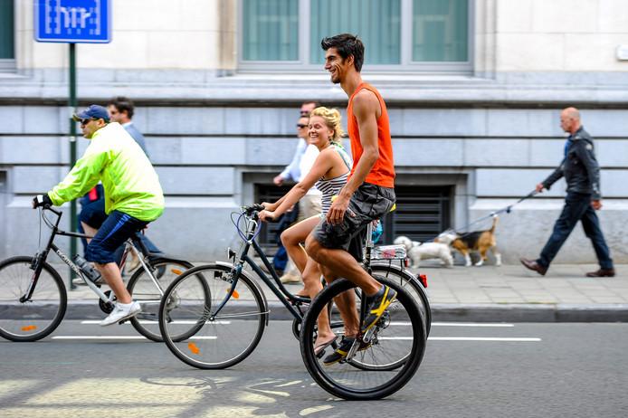 Dimanche sans voiture à Bruxelles, lors de l'édition 2012.