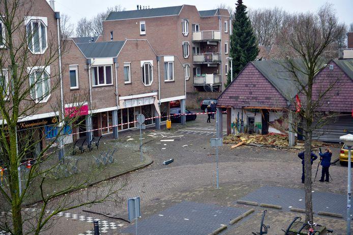 De schade was enorm na de plofkraak op deze geldautomaat op het Eindhovense Biarritzplein, begin 2019.