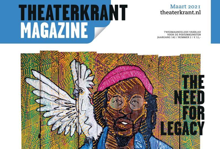 Theaterkrant Magazine met het portret van Rufus Collins van Brian Elstak op de voorkant. Beeld Theaterkrant Magazine