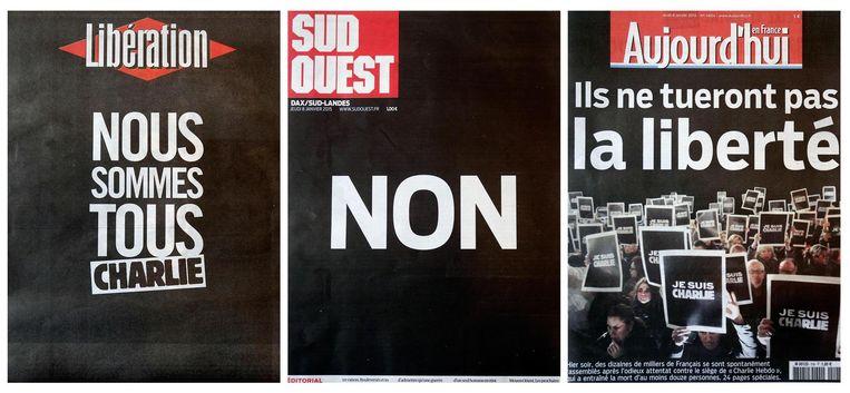 Voorpagina's van Franse kranten vandaag, met onder meer de voorpagina van Libération (links). Beeld reuters