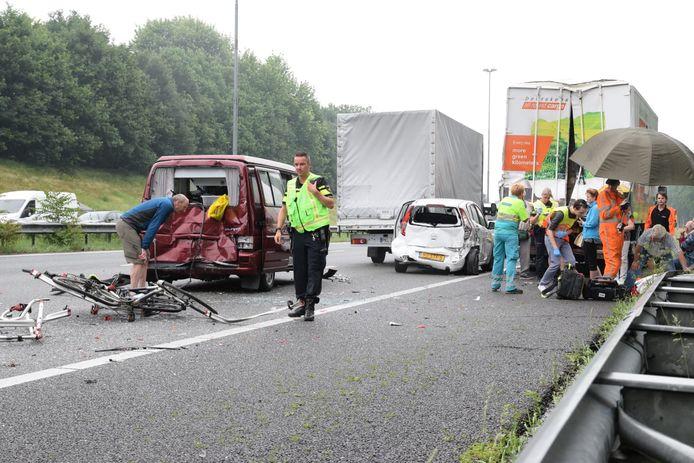Ongeval op A58 bij Tilburg.
