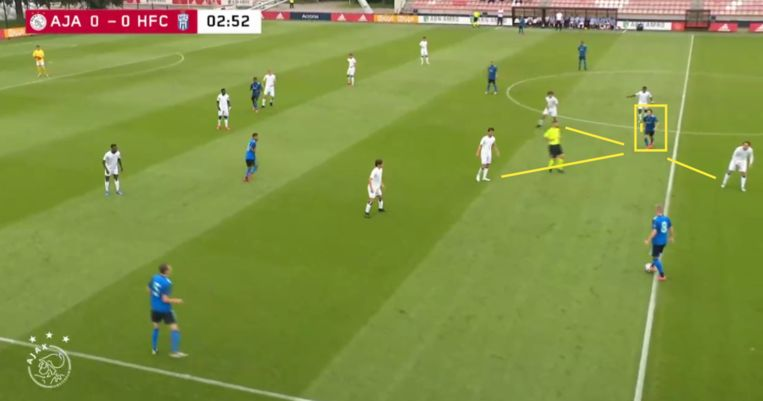 Fitz-Jim biedt zich aan in de drukte. Beeld Screenshot Ajax TV