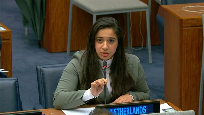 Hajar Yagkoubi aan het woord tijdens conferentie bij de VN.