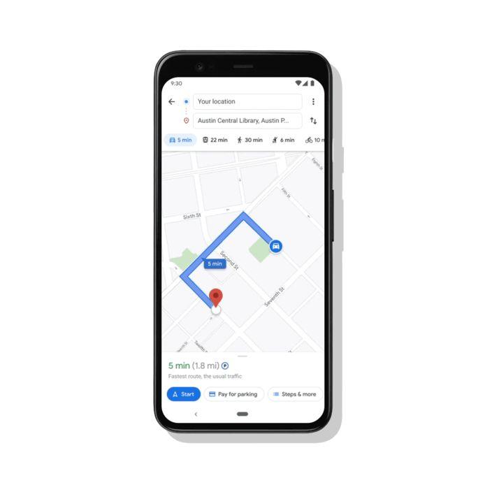 De betaalfunctie in Google Maps, centraal onderaan te zien in dit voorbeeld.