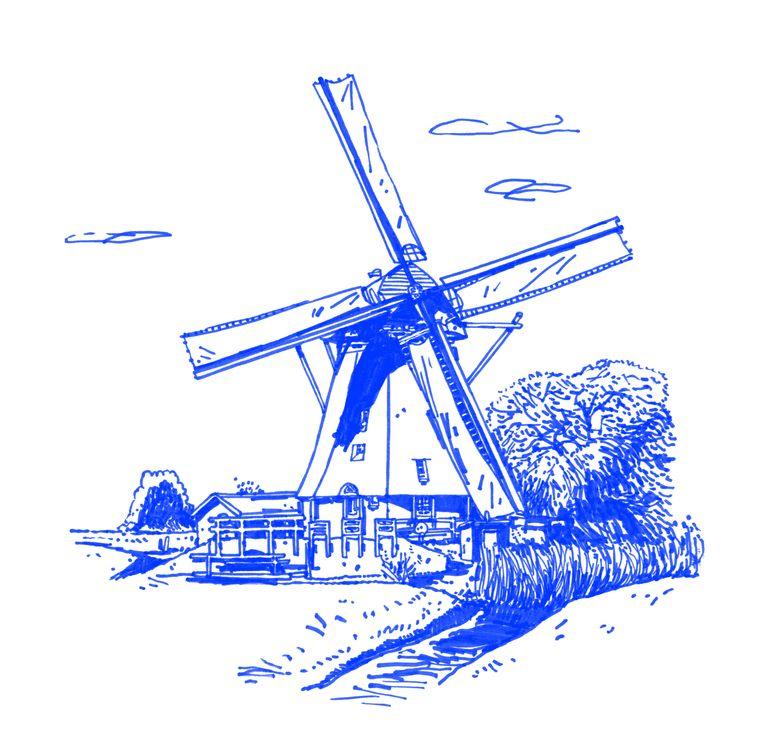 Mondriaans lievelingsonderwerp aan het Gein is de Oostzijdse Molen, die hij twintig keer schildert. Beeld Joost Stokhof