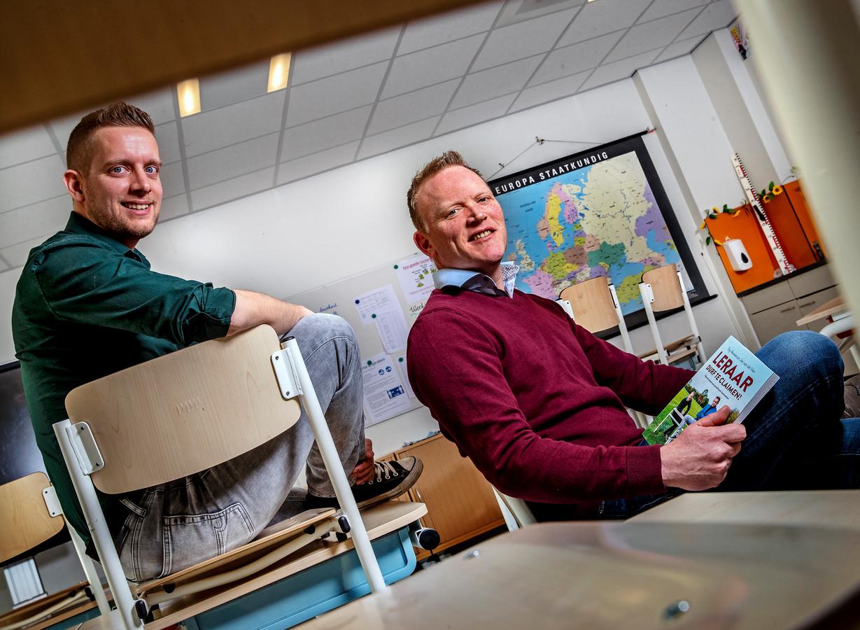 Portret van leraren Jan van de Ven en Tijs Roovers Foto ; Pim Ras