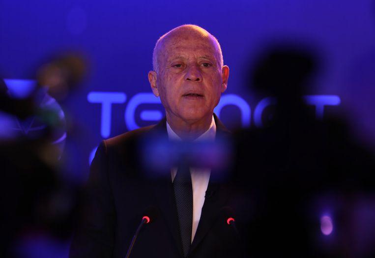 De Tunesische president Kais Saied. Beeld EPA