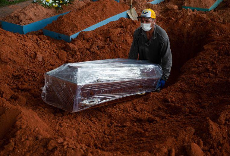Een medewerker van het kerkhof in Manaus plaatst een kist met daarin een covidslachtoffer, in de grond.  Beeld AFP