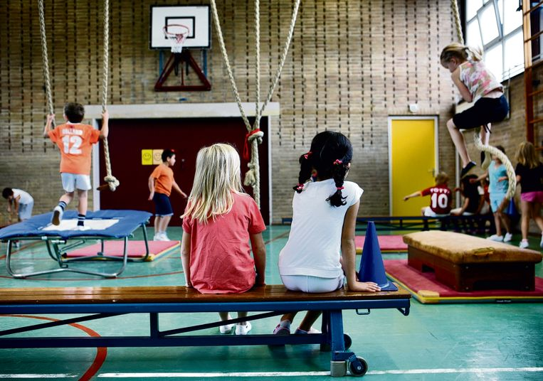 Kinderen van groep 2 en 3 van basisschool Pieter Jelles Troelstra tijdens de gymles. Beeld Jean-Pierre Jans