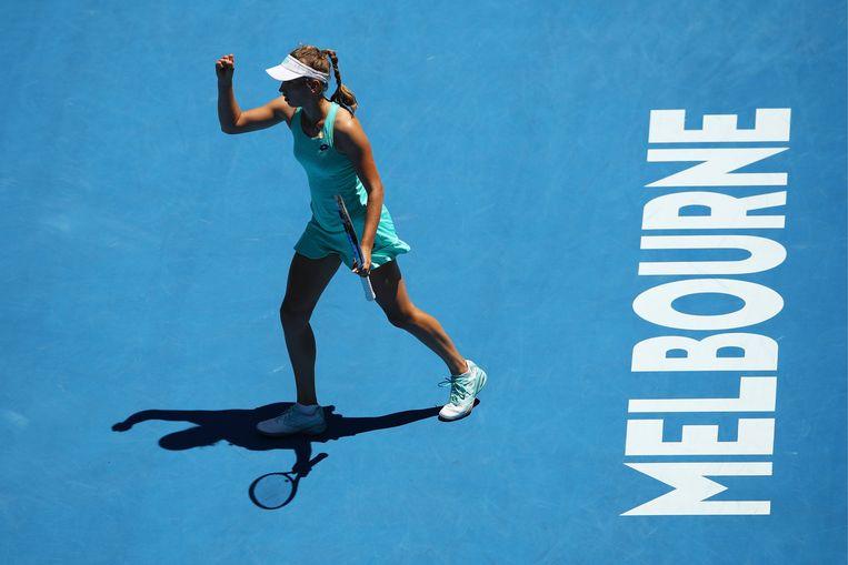Elise Mertens balt de vuist na het bereiken van de halve finales op de Australian Open. Beeld Photo News