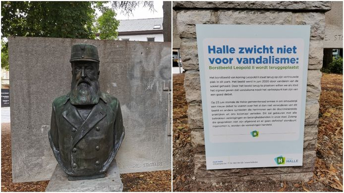 La ville a remis la statue dans le parc, et apposé une pancarte disant qu'elle ne cèderait pas au vandalisme