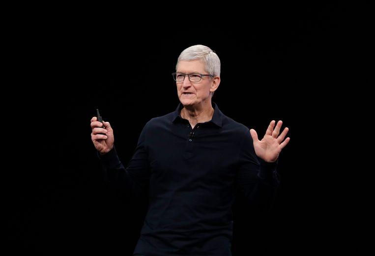 Tim Cook, de CEO van Apple, spreekt op een conferentie in 2019. Beeld AP