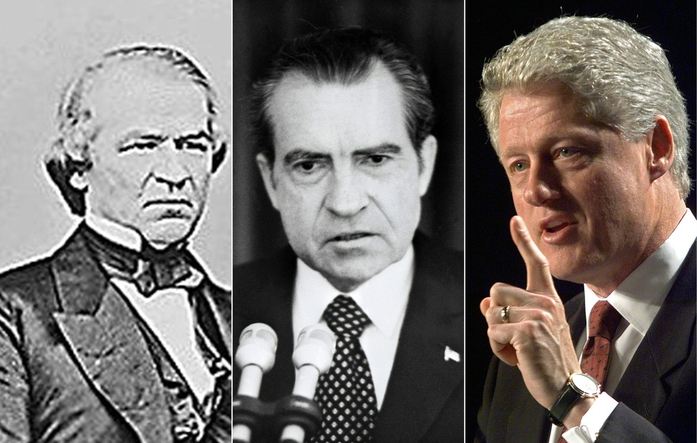 Andrew Johnson (president van 1865 tot 1869), Richard Nixon (1969-1974) en Bill Clinton (1993-2001) werden eerder 'impeacht'. Trump is nog maar de vierde president in de Amerikaanse geschiedenis. Beeld AFP