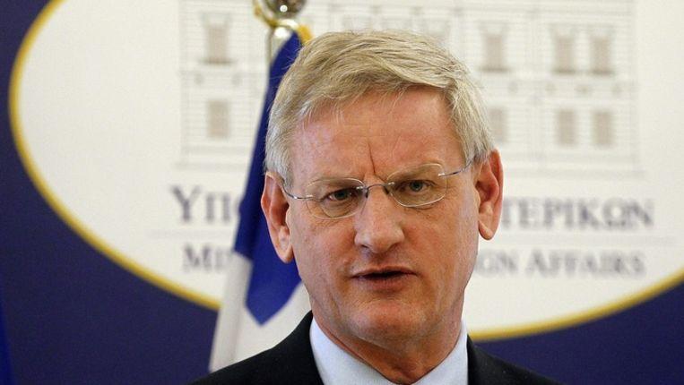 De Zweedse minister van Buitenlandse Zaken Carl Bildt Beeld epa