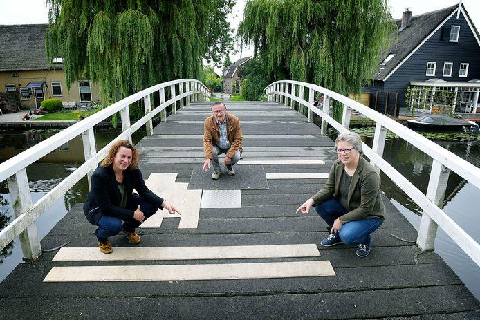 Vlnr: Esther Renes, Bert den Boer en Anneke Bode op de Pinkeveerse brug.