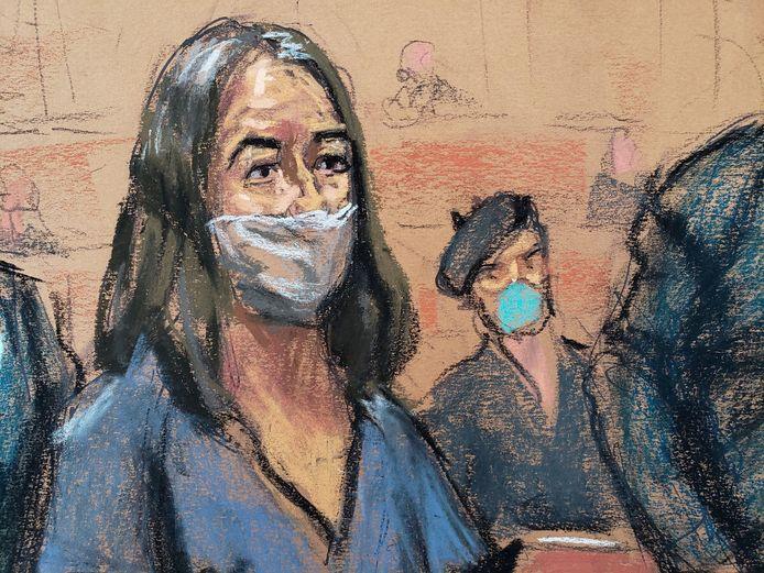 Een tekening van Ghislaine Maxwell in de rechtbank van New York tijdens een eerste hoorzitting over de aanklachten.