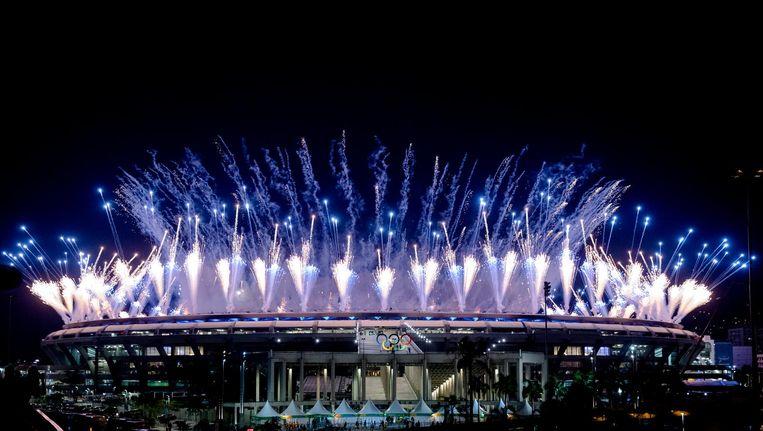Vuurwerk tijdens de openingsceremonie van de Olympische Spelen in Rio de Janeiro. Beeld anp