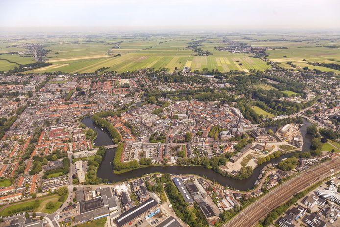 De binnenstad van Woerden met de contouren van de vestingstad