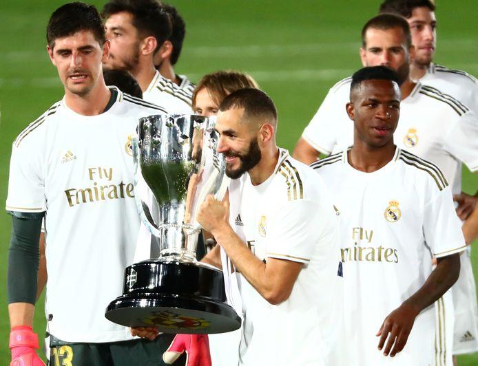 Avec Sergio Ramos et Thibaut Courtois, entre autres, Karim Benzema a porté le Real vers son 34e sacre de champion d'Espagne.