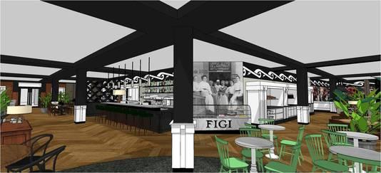 De nieuwe entree van Hotel Theater Figi: het theatercafé en restaurant worden samengevoegd tot grand café.